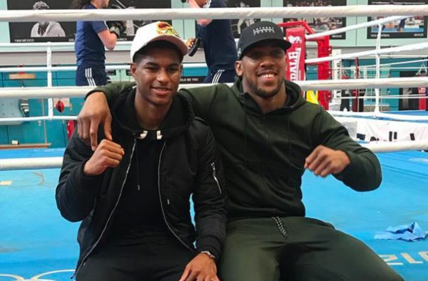 Marcus Rashford Visits Anthony Joshua Ahead of His Fight in Cardiff