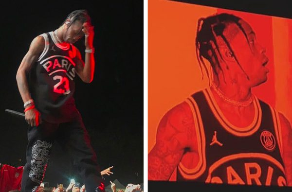 Travis Scott Reveals PSG x Jordan Brand Basketball Jersey During a Show in France
