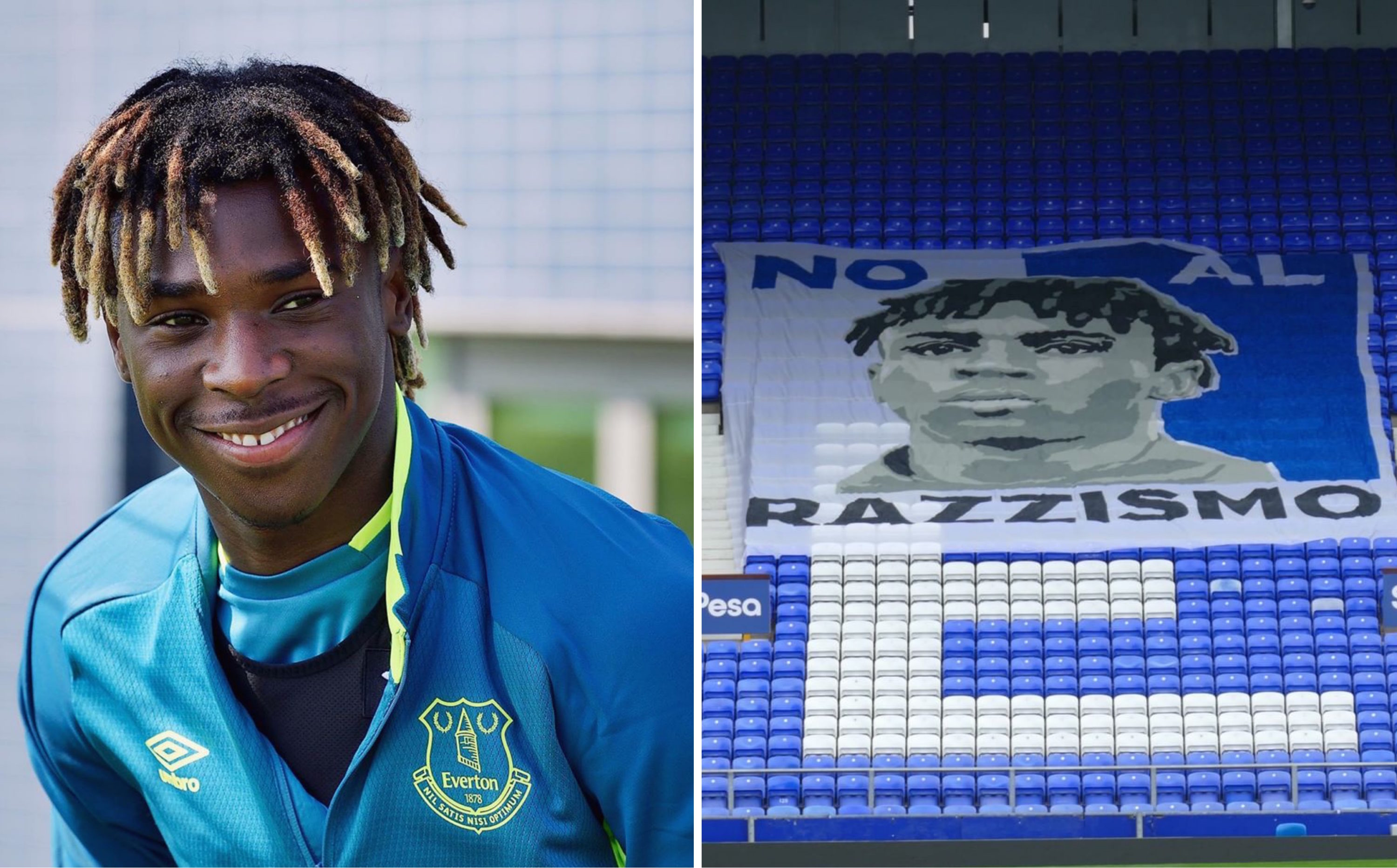 Everton Unveil An Anti Racism Banner In Support Of Moise Kean Funded Entirely By The Club S Fans